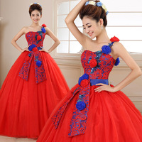 Red Quinceanera Dresses 3D Flowers Tulle Dresses 15 year old Debutante One Shoulder Masquerade Ball Gown Vestidos De 15 Anos