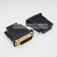 Gold Plating DVI To HDMI Adapter Graphics Card Dvi Connector Connected HD TV DVI Male To
