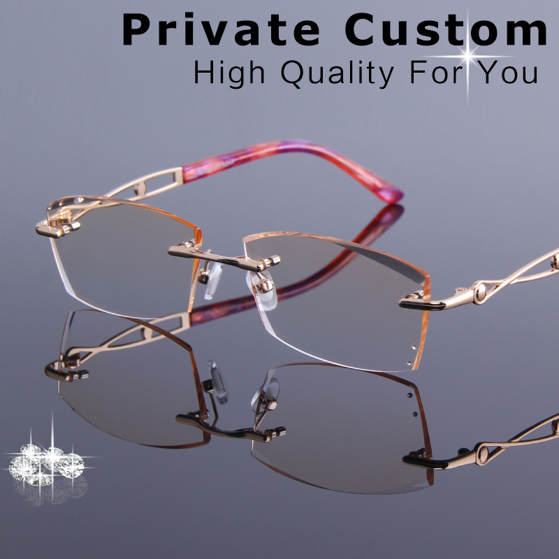 0bc1bc8ee0 Luxury Tinted Lenses Myopia Hyperopia Glasses Female Rhinestone Rimless Prescription  Glasses Frame Women See Distance Eyeglasses
