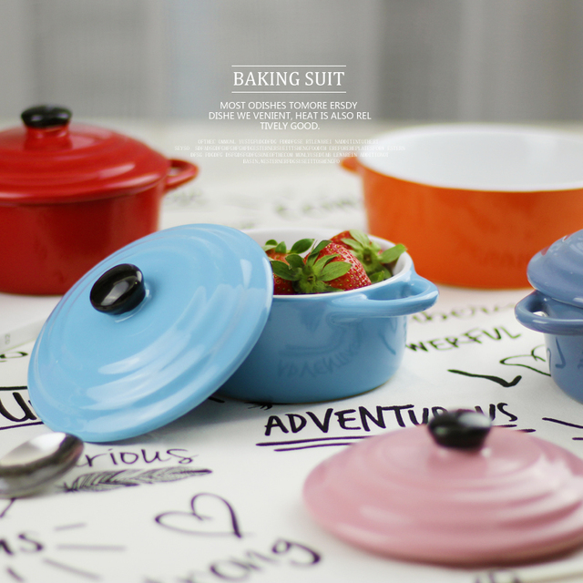 Fashion Ceramic Casserole With Cover Microwave Oven Porcelain Soup Blow Cup Tableware Lid Slow Dessert Stockpot