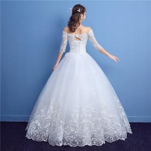 Image 2 - Korean Lace Half Sleeve Boat Neck Wedding Dresses 2020 New Fashion Elegant Princess Appliques Gown Customized Bridal Dress D09 7