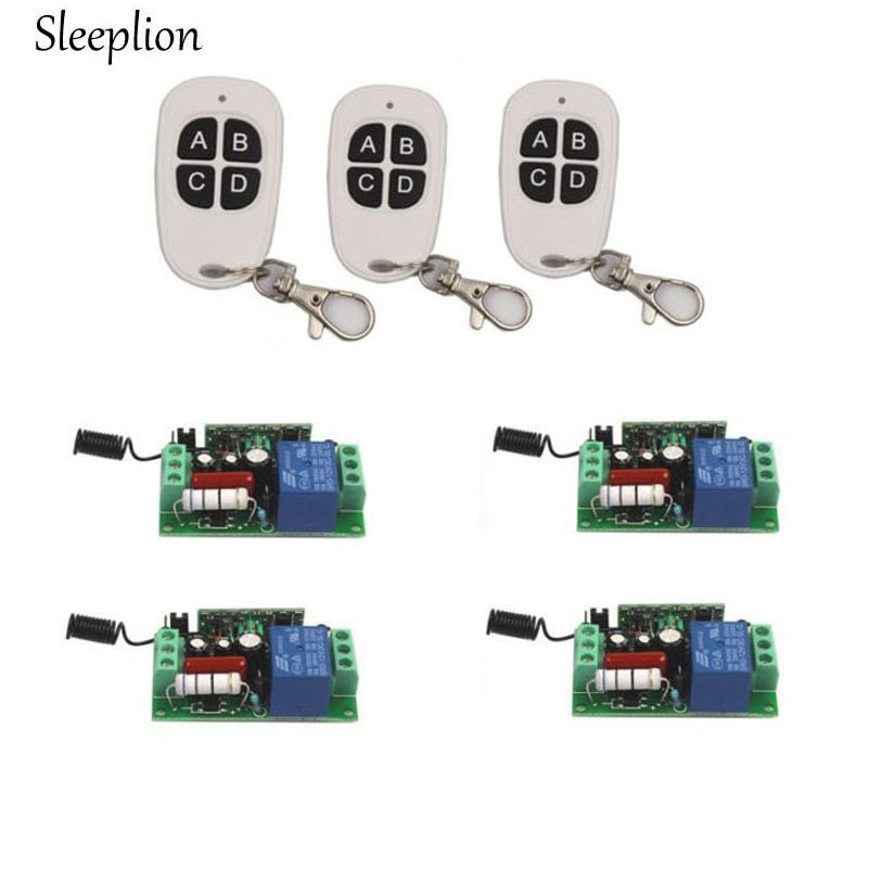 Sleeplion Home AC 220V 10A 1CH Relay 4 key Wireless RF Remote Comntrol Switch 3 Transmitter