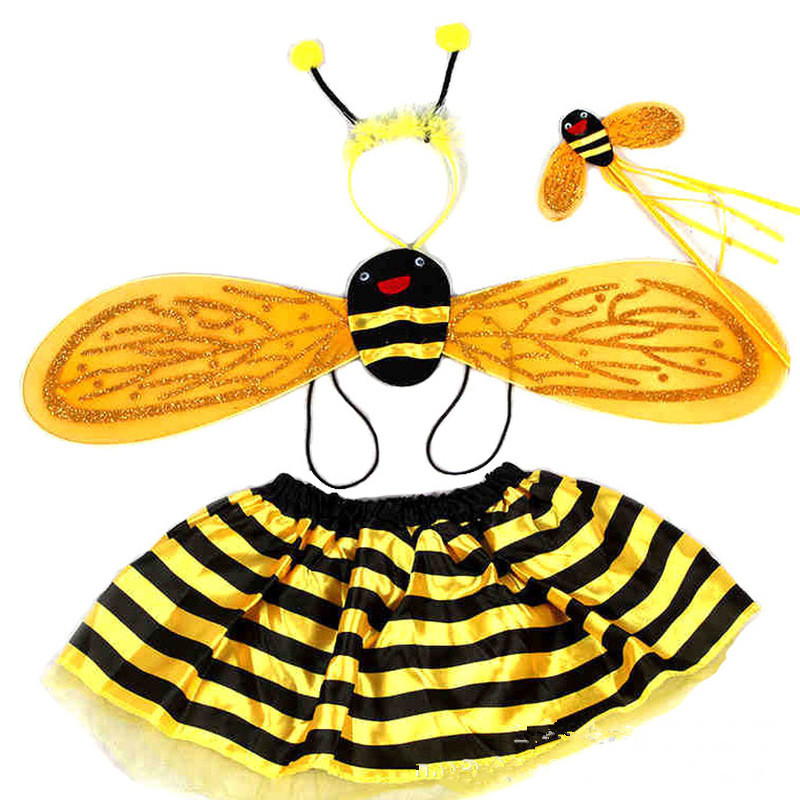 4 Piece Sets Halloween Christmas Bee <font><b>Ladybug</b></font> <font><b>Costumes</b></font> for <font><b>Kids</b></font> Girls Cute Party Fancy Dress Cosplay Wings+Tutu Skirts Yellow Red image