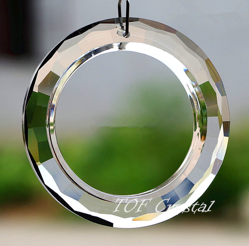10PCS 60mm Big O Ring Round Crystal Prisms Sun Catcher Free Shipping