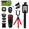 2017 kit de la Lente Del Teléfono 12x Teleobjetivo Lentes de ojo de Pez Gran Angular lentes macro selfie remoto luz del flash del trípode para iphone samsung s7