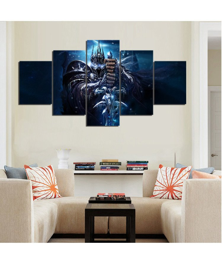 Wow lich king sword cold eyes fists canvas painting wall for Prints for home decor
