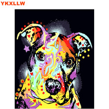 Diy oil painting by numbers abstract acrylic paint animal colorful Dog Cat decorative canvas coloring number drawing