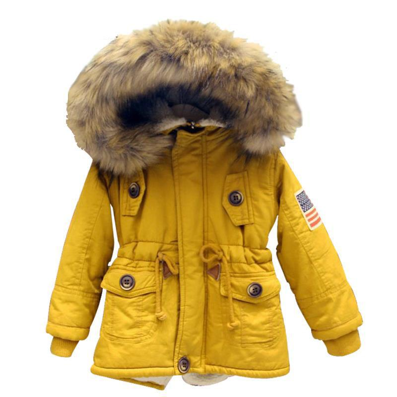 ФОТО 2-7T girls boys coats and jackets 2016 autumn winter Korean boys USA flag hooded coat thick cotton warmer kids winter coat girls