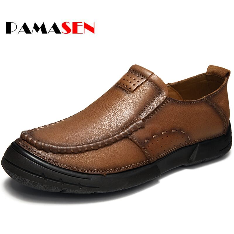 PAMASEN Men Genuine Leather Retro Flats Casual Shoes Authentic Brand Men's Casual Loafers Shoes Cowhide Handmade Moccasins Shoes cbjsho brand men shoes 2017 new genuine leather moccasins comfortable men loafers luxury men s flats men casual shoes