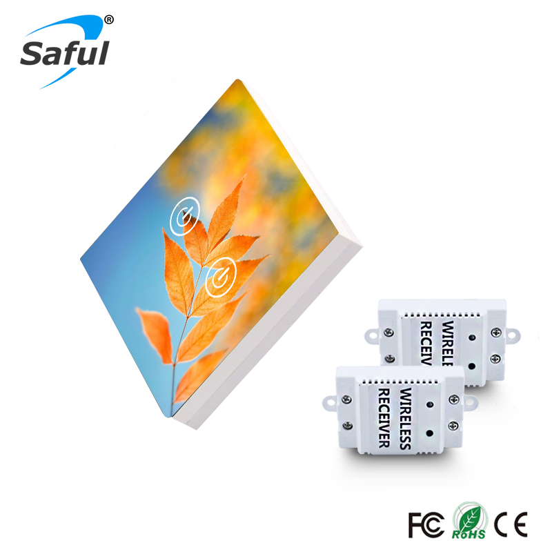 Saful 2 Gang 2 Way Wireless Touch Switch Painting DIY Glass Design Wireless Touch Switch Free Shipping eu us smart home remote touch switch 1 gang 1 way itead sonoff crystal glass panel touch switch touch switch wifi led backlight