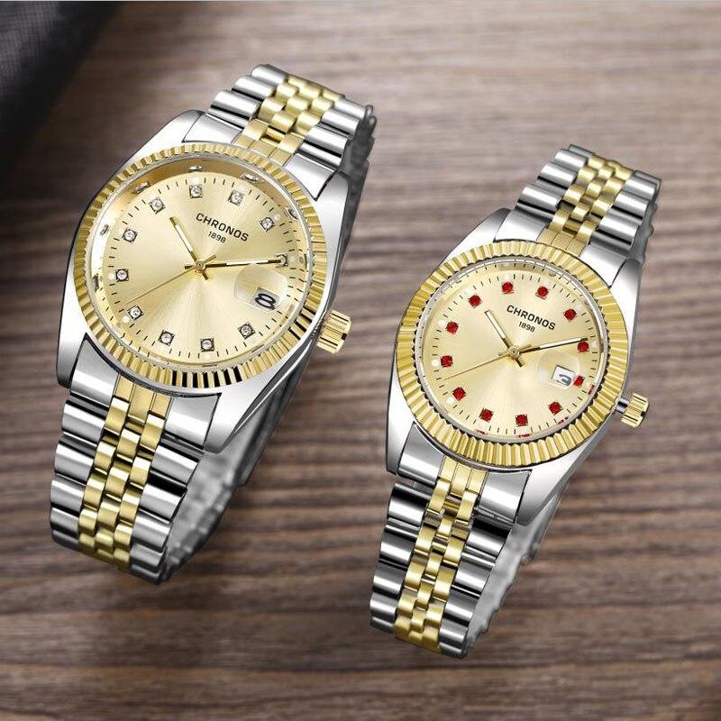 Couple Watch Mens Watches CHRONOS Top Brand Luxury Quartz Watch Women Clock Ladies Dress Wristwatch Fashion Casual Lovers Watch
