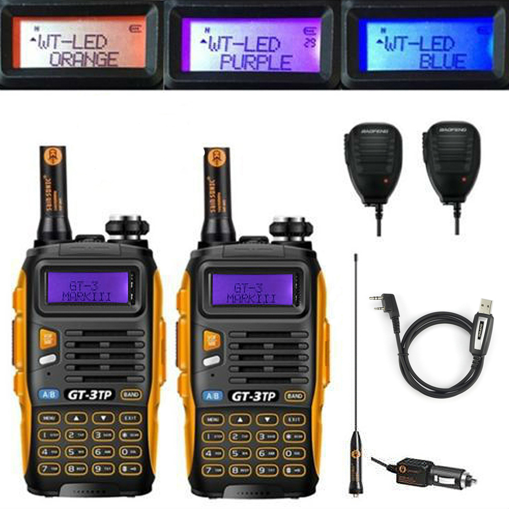 2pcs Baofeng GT-3TP MarkIII VHF/UHF Dual Band FM Ham Walkie Talkie Two-way Radio Transceiver with Speaker Programming Cable2pcs Baofeng GT-3TP MarkIII VHF/UHF Dual Band FM Ham Walkie Talkie Two-way Radio Transceiver with Speaker Programming Cable