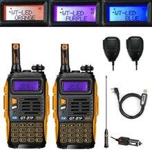 2x Baofeng GT-3TP MarkIII VHF/UHF Dual Band Ham Walkie Talkie Two-way Radio + Speaker 1x Cable 1/4/8W FM