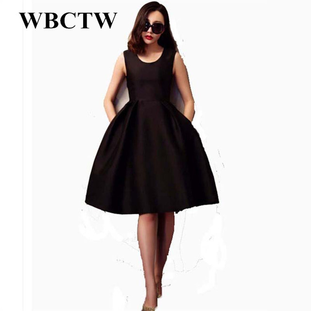 faa5bbd9f7f Plus Size Dress Casual Ball Gown Style Sleeveless Midi Dress Summer XXS-7XL Large  Size Vintage Black Women Dress For Work