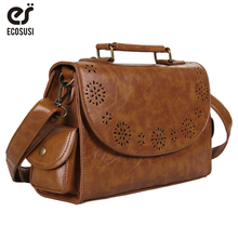 цена на ECOSUSI Vintage Women Messenger Bags Retro Small Satchel Bag Crossbody Purse PU leather Briefcase Shopping Work School Bag