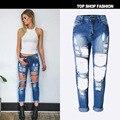 Nueva primavera verano moda broken ripped denim jeans pantalones de algodón con grandes agujeros de la Tobillo-longitud más tamaño 3xl z056