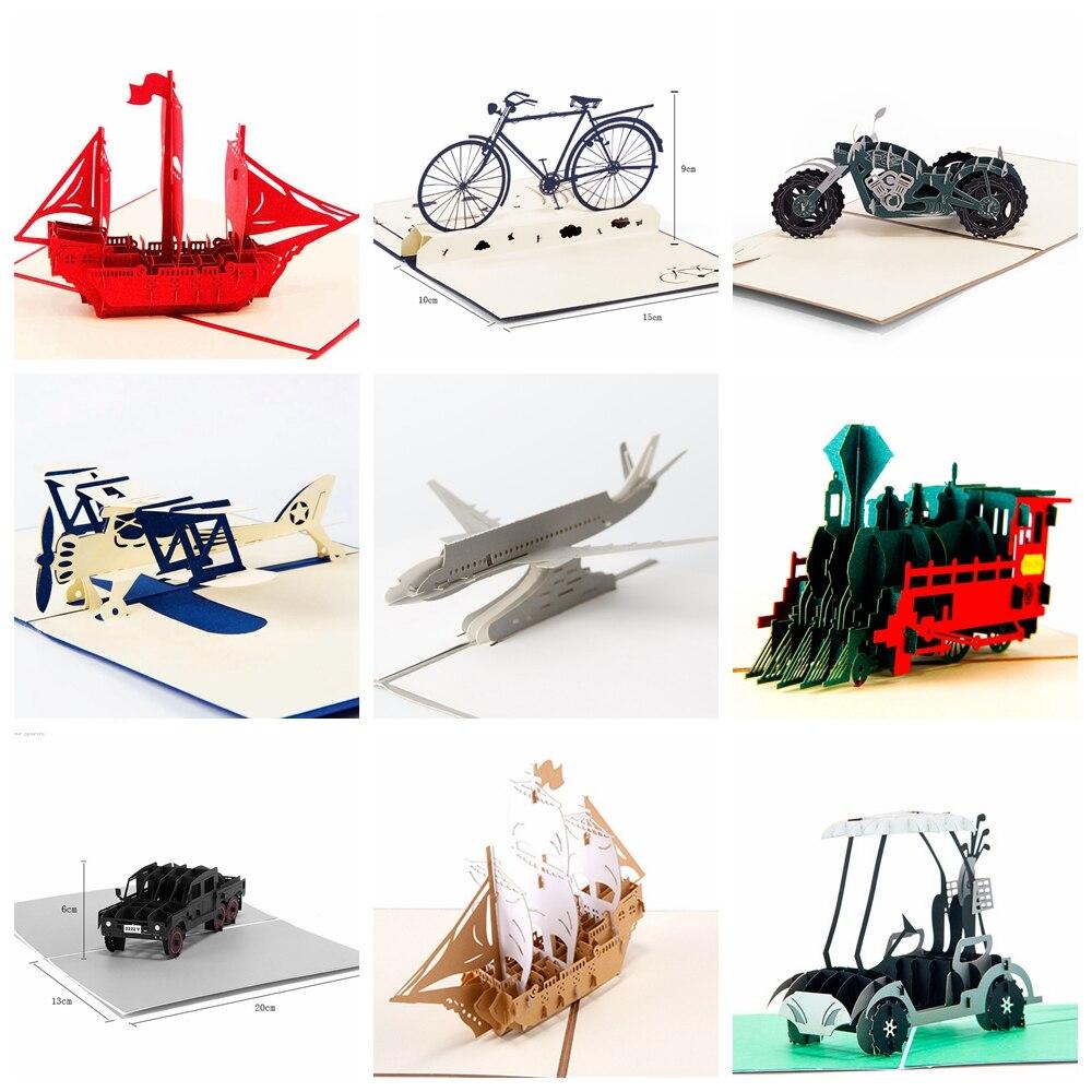 Paer Spiritz 3D Pop Up Grußkarten Postkarte Vintage Handgemachte Origami Papier Laser Cut Kraft Geburtstag Geschenke für Freund Papa