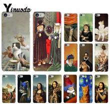 Yinuoda Funny Leonardo da Vinci MonaLisa Pat Cat Art Soft Silicone Phone Case  for iPhone 8 7 6 6S Plus X XS MAX 5 5S SE XR 10