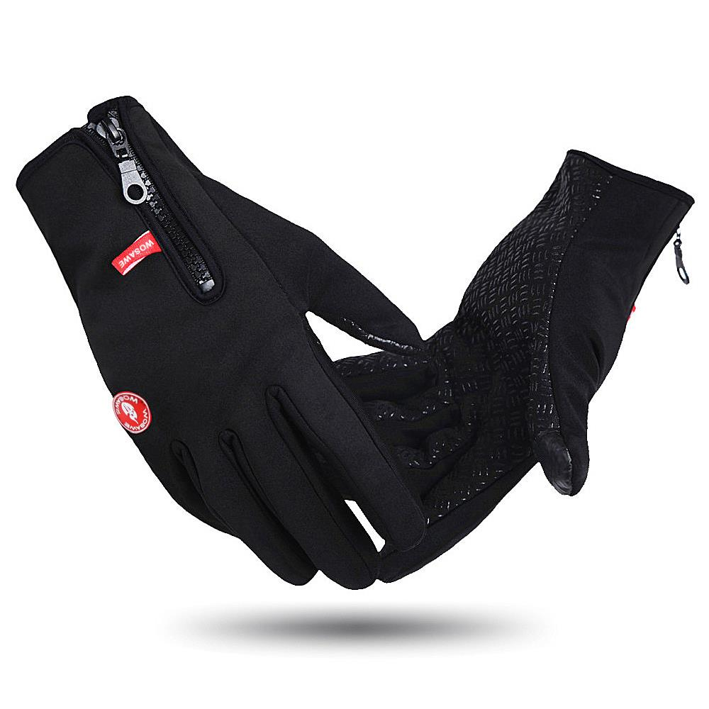 Motorcycle gloves thin - Men Winter Cycling Gloves Windproof Men Women Racing Motorcycle Gloves Waterproof Ciclismo Touch Screen Gloves Cycling Black