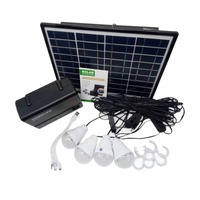Solar Panel Power Storage Generator with LED Light Bulb USB Charger Portable Handheld Generator Power Box Home System Kit