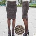 El envío libre 2016 nueva tela escocesa sexy OL de la rodilla-longitud de la Falda de La manera de verificación de alta calidad Faldas Lápiz SMLXXXXL