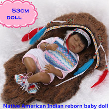 Hot Sale Popular Native American Indian Silicone Reborn Baby Dolls About 53cm For Child Rare And Best Ethnic Doll Gift Brinquedo