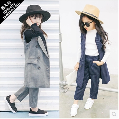 2016 han edition girl suits autumn new Andy with  vertical stripes sleeveless vest + wide-legged pants free shipping