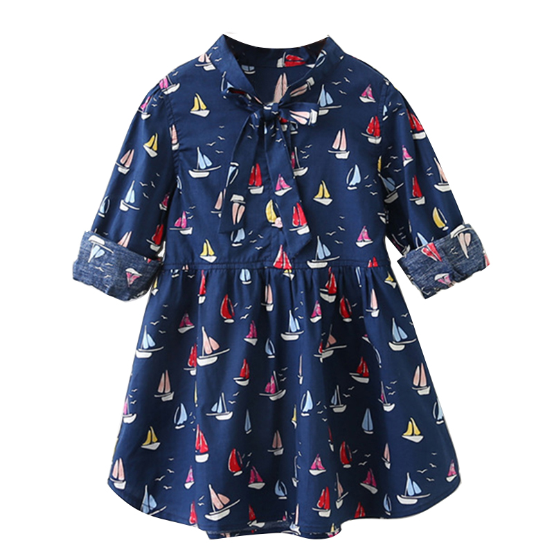 Girls Dress 2018 New Autumn Style Kids Spring  Clothes Long-Sleeves Casual Girls Clothing Children Dress Boats Printing girls dress autumn new 2018 casual