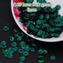 Decoration Laser Sequins Confetti Paillettes-Sewing 6mm Bright 50g Cup Round Dark-Green