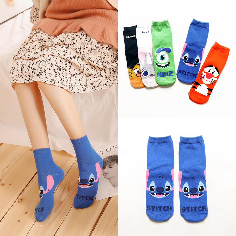 Ladies fashion cartoon   socks   dog cat rabbit animal invisible boat   socks   cotton slippers summer short fins kawaii cute   socks