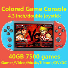 лучшая цена cool 4.3 inch colored game console 40GB build in 7500 game for ps1/gg/cps/neogeo/gba/gbc/gb/snes/nes/sega video game console MP4