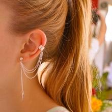 Personality Metal Ear Clip  Leaf Hoop Earrigs Boho On Stud Earrings For Women