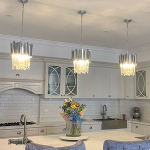 Image 3 - Chrome/gold kitchen lights led chandelier lighting for dining room luxury foyer k9 crystal small round hanging lamp