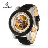 BOBO BIRD K11 Mens Watches Vintage Bronze Skeleton Clock Male Antique Steampunk Casual Automatic Exposed Gold