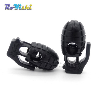 1000pcs/pack Grenade Style Plastic Cord Lock Stopper Black For Paracord/Shoe Lace