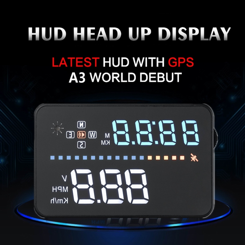 Image 3 - Universal A3 Auto GPS HUD Heads Up Display digital GPS Car Accessories  Electronics  Digital Speedometer A300 OBD2 HUD-in Head-up Display from Automobiles & Motorcycles