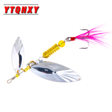 Купить с кэшбэком YTQHXY 1Pcs Fishing Lure Rotating Sequins Hard 60mm 6.7g Bait  Pinner Spoon Metal Fishing Tackle VIB Sinking Wobblers WQ348