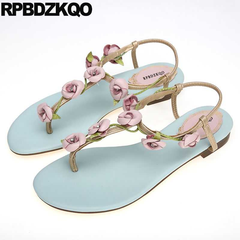 fd4182a8fd7c1a T Strap Nice Women Sandals Flat Summer 2018 Leaf Designer Embellished Shoes  Kawaii Flower Holiday Turquoise