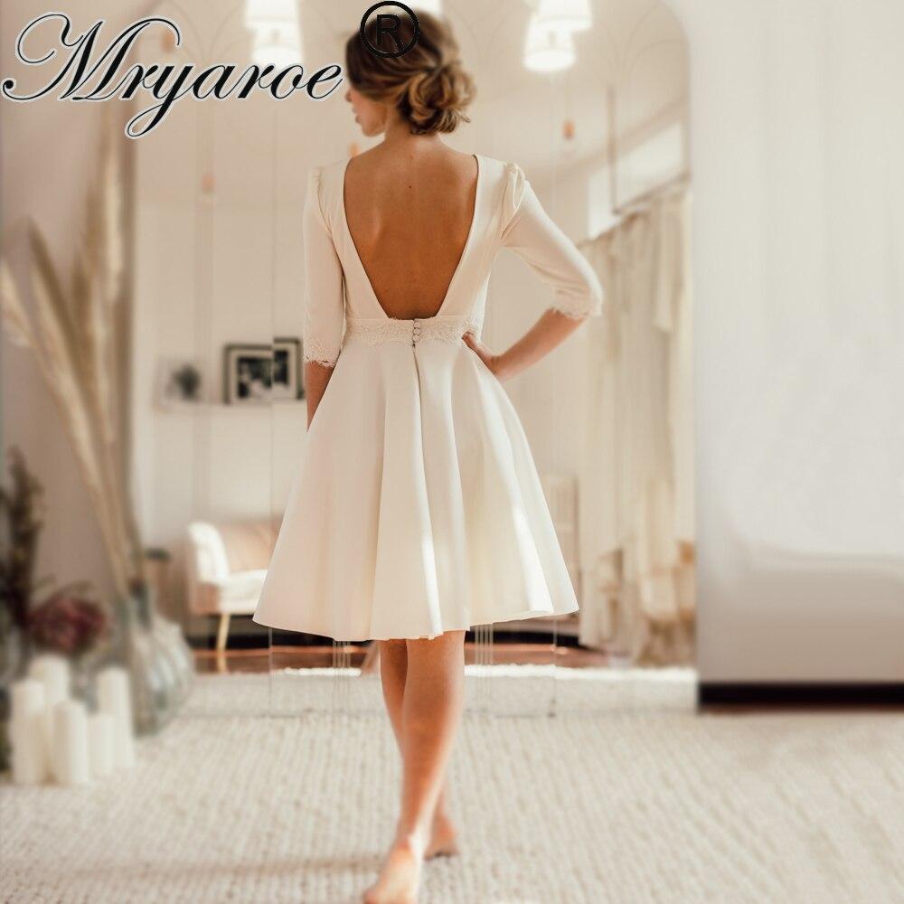 Mryarce 20 Short Wedding Dress Open Back Crepe Knee Length Bridal Dresses  Short Sleeves robe de mariage