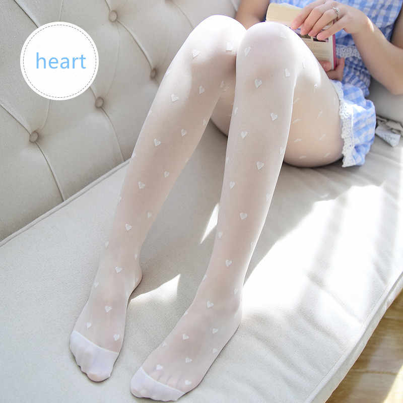 2019 1PC Sexy Women Summer Nylon heart Print Tights Pantyhose Stockings Step Foot Seamless Pantyhose Fishnet Mesh Print Collant