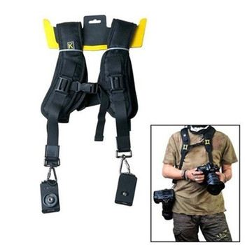 Double Dual Shoulder Camera Neck Strap Quick Release for Digital SLR DSLR Camera Camera belt double padded strimmer brushcutter harness quick release shoulder straps suits