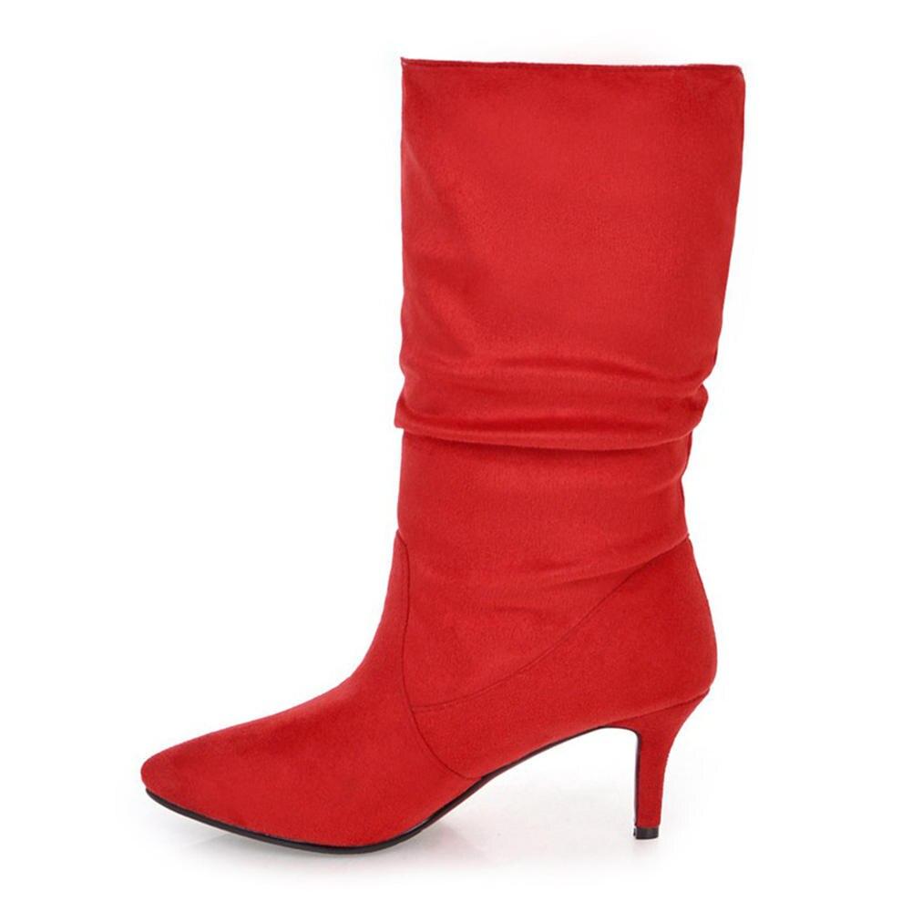 Talons Chaud Bottes D'hiver 43 Femmes Sur Mi Femme Chaussures Slip 32 Haute Gros En rouge Taille Doratasia Grande mollet Noir WnqCwY06W
