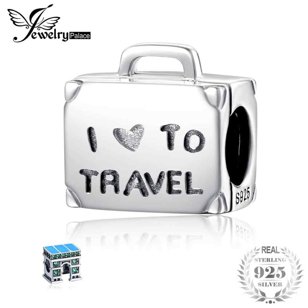 3ef60e751714 JewelryPalace 925 Sterling Silver I Love Travel Luggage Charm Bead Fit  Bracelets Bead Charm Fashion Women Jewelry DIY Jewelry