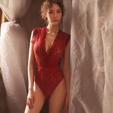hoyyezen new woman sexy lace perspective deep V shoulder underwear one-piece pajamas sleepwear