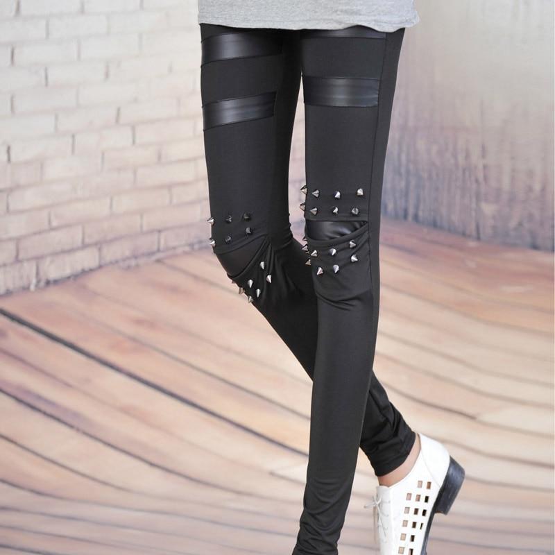 Patch Leggings Studs Spike Trousers Deportivas Punk Faux-Leather Fitness Mujer Women