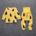 DB0158 Nova chegada venda Quente 2 pçs/set Baby & Kids Pijama conjuntos Meninos pinguim T-shirt + calças Terno menina define 2-5 T livre grátis