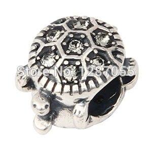 d2248c7db13d Venta al por mayor 925 granos de plata esterlina para las mujeres Amuletos  cristal claro pequeña tortuga joyería Fit y collares pulseras