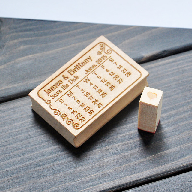Personalized Wood Stamp Wedding Custom Calendar Save The Date