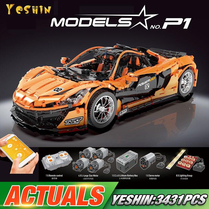 DHL 20087 Technic Car The Yeshin P1 Orange Racing Car Set APP RC Car Model Building