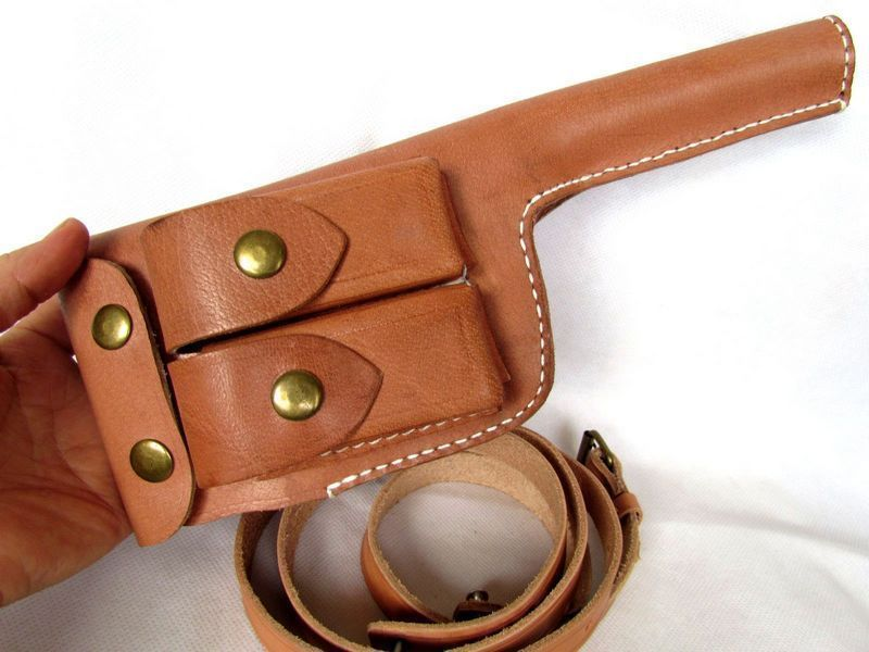 WW2 WWII GERMAN MAUSER C96 BROOMHANDLE LEATHER HOLSTER WITH STRAP